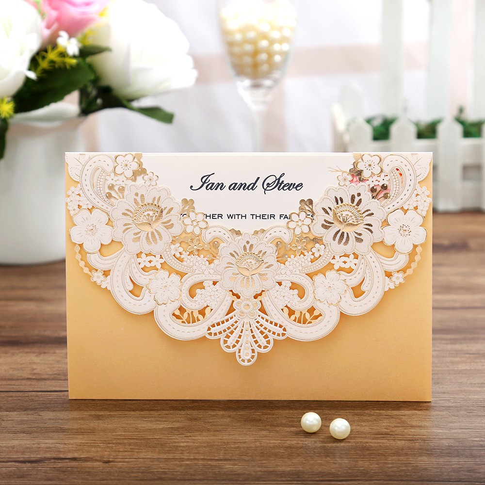 100pcs New Arrival Horizontal Laser Cut Wedding Invitations with gold Hollow Flora Customizable
