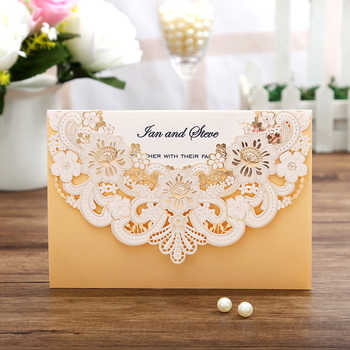 100pcs New Arrival Horizontal Laser Cut Wedding Invitations with gold Hollow Flora,Customizable - DISCOUNT ITEM  10% OFF All Category