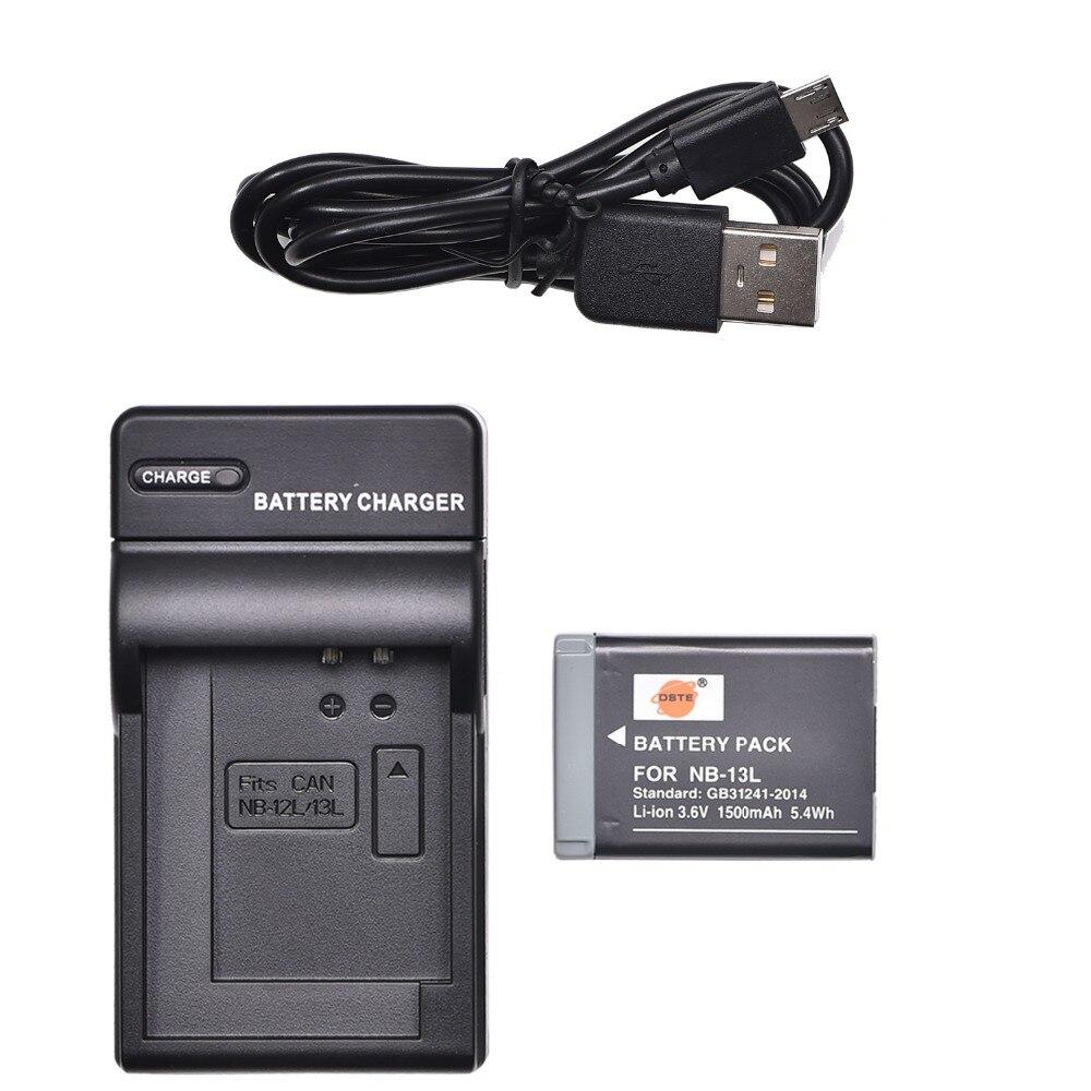 Аккумулятор DSTE NB-13L + зарядное устройство USB для Canon PowerShot G1X Mark III,PowerShot G5X,PowerShot G5X Mark II,PowerShot G7X Mark II