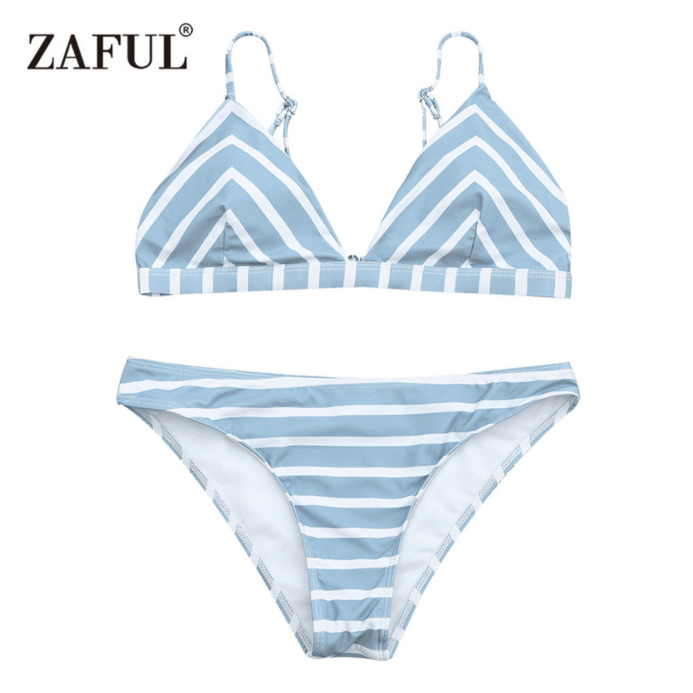 ZAFUL Bikini 2018 Swimwear Women Chevron Stripe Cami Swimsuit Sexy Low Waist Striped Design Spaghetti Straps Bathing Suit Biuqni striped print color block cami dress