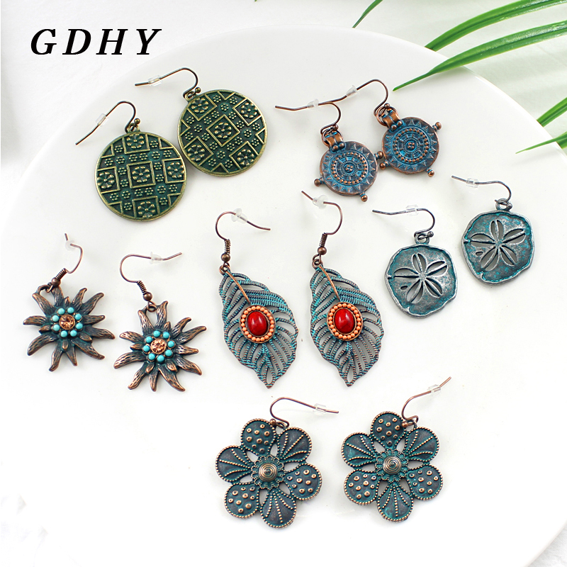 GDHY Retro Bohemian Style Hollowed-out Pattern Leaf Leaves Ccircular Star Circular Droplet Ring Pattern Drop Earrings Gift
