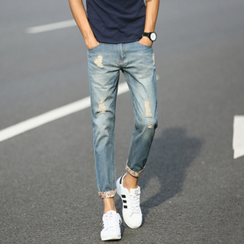 Men Pencil Pants Jeans Fashion Trousers Slim Fit Hole Distressed Pants for Teenage Mid Waist Youth Casual Flanging Denim Jeans