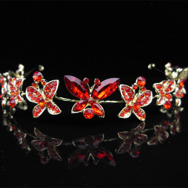 6 Pcs Women Fashion Gold Metal Chain Jewelry Red Crystal Butterfly Hair Band Headband