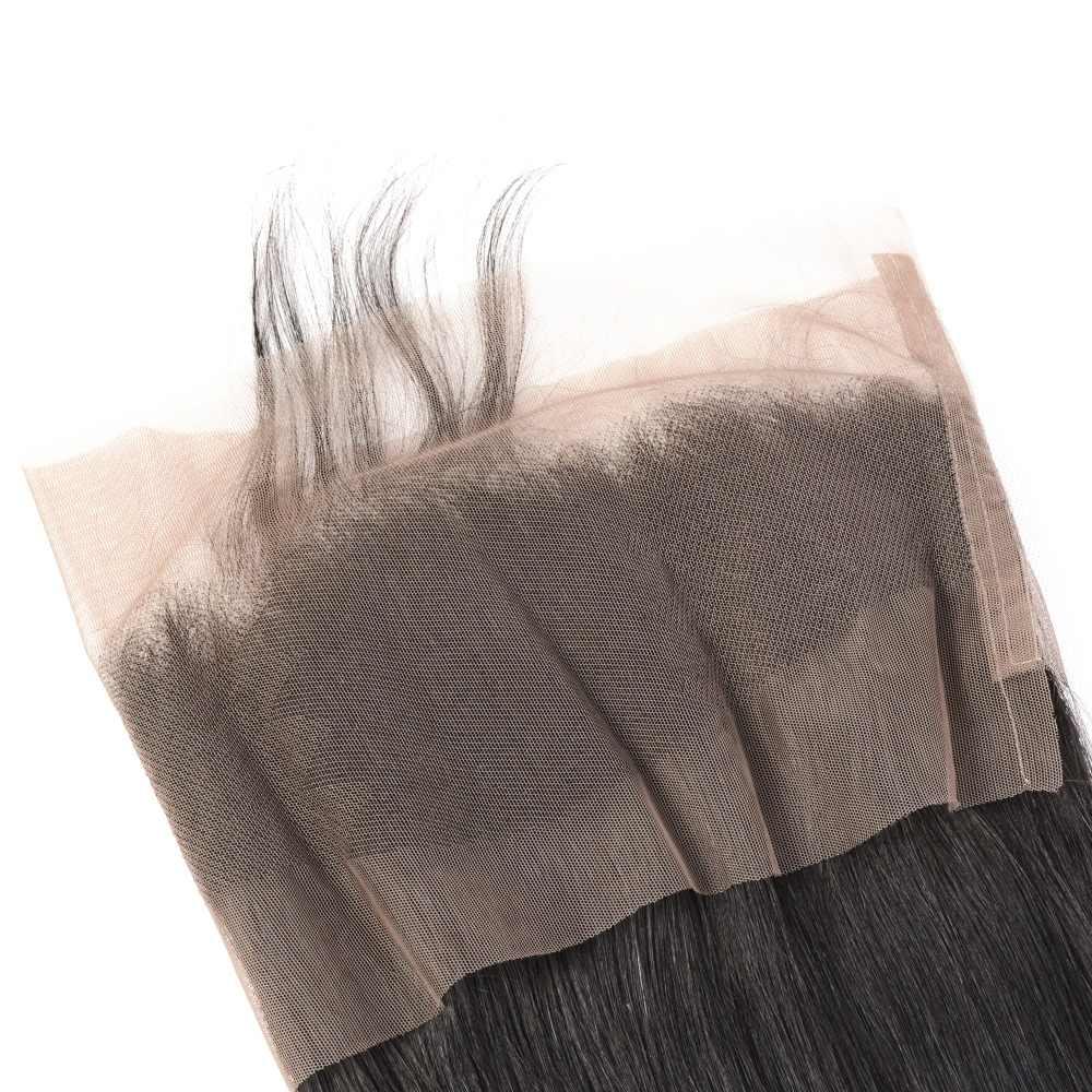 Бразильский прямые волосы 360 синтетический Frontal шнурка волос синтетическое закрытие Gem красота Remy натуральные волосы синтетический Frontal шнурка