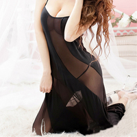 2017 Hot Sexy Transparent Lace Long Night Gown Sheer Mesh Night Dress Erotic Long Lingerie Women