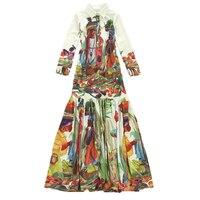 Alta qualità più nuovo runway fashion 2017 designer maxi dress manica lunga da donna vintage modello stampato della boemia long dress