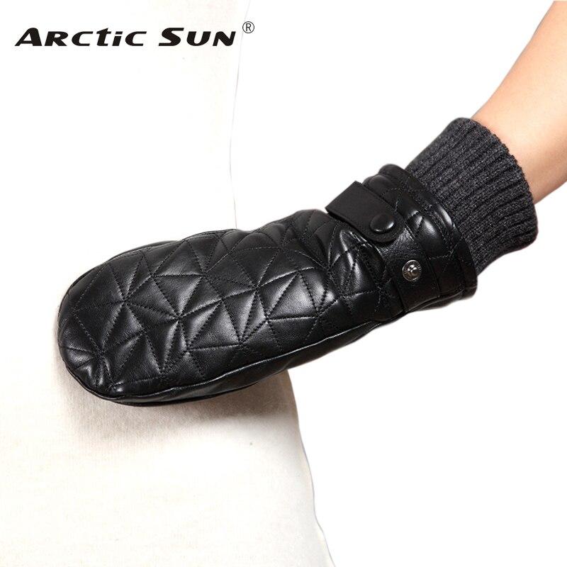 Women's Genuine Leather Gloves Autumn Winter Plus Velvet Thicken Sheepskin Fingerless Gloves Female Driving Mittens L155NY