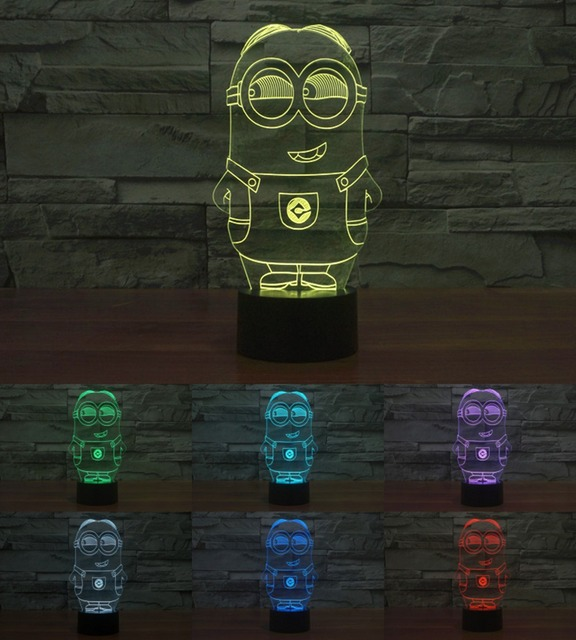 Despicable Me 3D Minions Night Light Acrylic Colorful Gradient LED Lamp Ambient Light Table Light minion