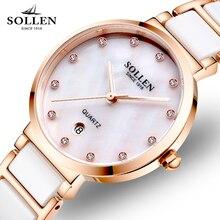 Relogios Femininos New Luxury Brand Women Watch Crystal Dress Ceramic Strap Quartz Watches Casual Ladies Wristwatch Gift Clock