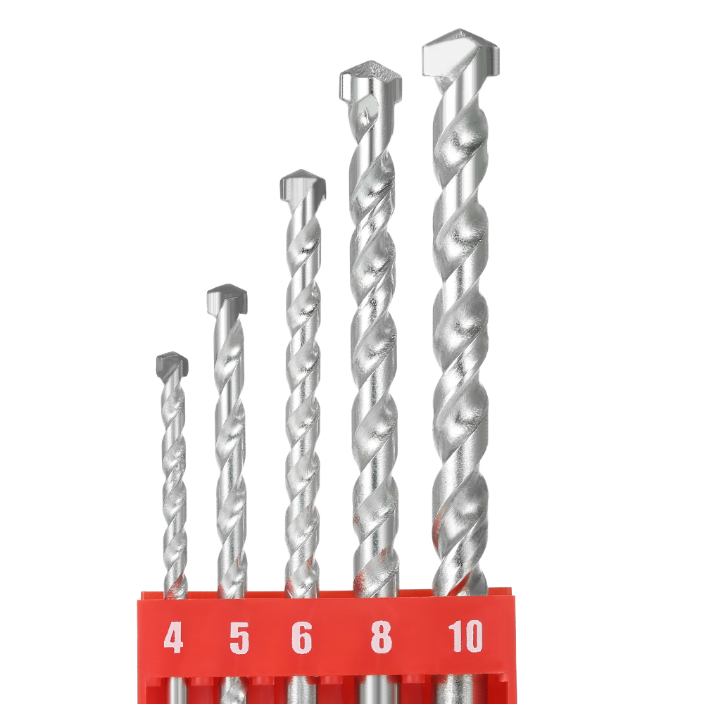 5pcs 4-10mm Rotary Masonry Drill Bits Set Galvanized Drills Round Shank Spiral Flute for Drilling Concrete Brick Tile with Case 5pcs masonry drills bit set high quality concrete carbide tip brick tile stone hole saw drilling tools 4mm 10mm