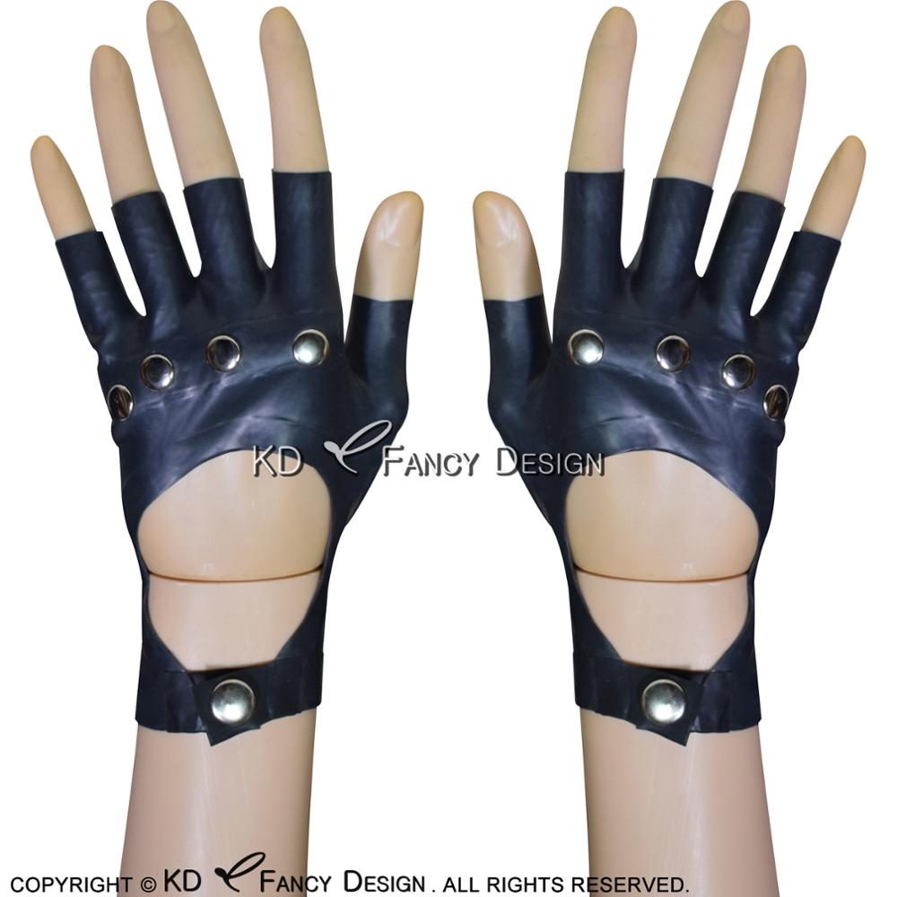 Black Sexy Short Latex Gloves With Buttons And Rivets And Holes Rubber Mittens Rubber Mitts Gloves