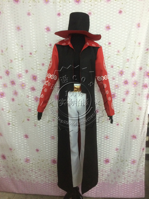 One Piece Dracule Mihawk Cosplay Costume set pant+coat+hat for party