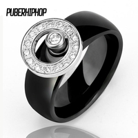 New Arrival 10 Mm Men Rings Big Size Natural Stone With Finger Gyro Ceramic Rings Black
