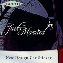 58*18CM Just Married Birds Car Stickers Vinyl Adhesive Removable Window Styling Waterproof Decals