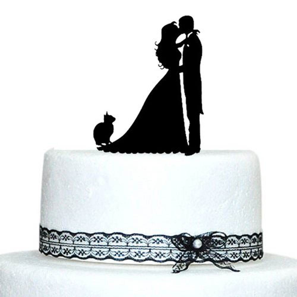Wedding Cake Toppers Bride and Groom with Cat ,mr and mrs  cake topper, cake topper silhouette, wedding cake decoration SuppliesWedding Cake Toppers Bride and Groom with Cat ,mr and mrs  cake topper, cake topper silhouette, wedding cake decoration Supplies