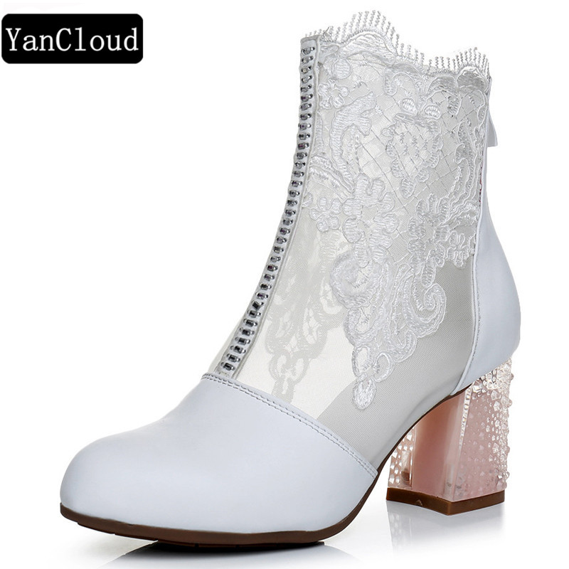 Summer Women Genuine Leather Martin Boots 2018 Fashion Breathable Lace Shoes Hollow Square Heel Ankle Boots Woman Shoes