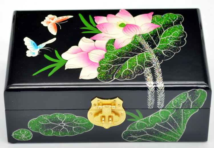 PingYao Shanxi chine main pousser laque légère laque chinoise boîte à bijoux mallette de rangement artisanat en bois traditionnel décor de mariage - 5
