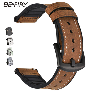 BEAFIRY 20mm 22mm Genuine Leather+Silicone Rubber Watch Band Straps For Men Women Quick Release Spring Bar Watchbands Waterproof