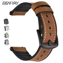 Beafiry pulseira de relógio de couro genuíno, 20mm 22mm, borracha de silicone, liberação rápida, barra de mola pulseiras à prova dágua