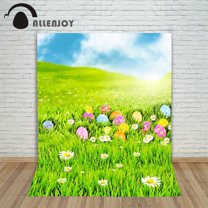 Allenjoy Easter backdrop eggs Lawn Daisy Light blue Sky photo children backgrounds for photo studio studio background blue sky чаша северный олень