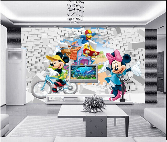 Custom 3D murals,3 d animation cartoon , living room sofa TV wall children bedroom wall paper the latest 3d murals dream of the sun exposure forest trees stone waterfall scenery living room tv sofa bedroom wall paper