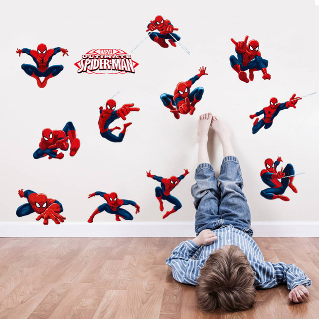 Diy 11 pose spiderman wall stickers for kids room pvc wall decal sdm009 children boys