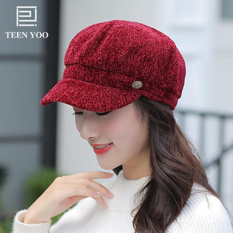 Femmes coton béret chapeaux mode Chenille couleur Pure octogonale bérets Version coréenne automne hiver chaud solide décontracté citrouille Cap