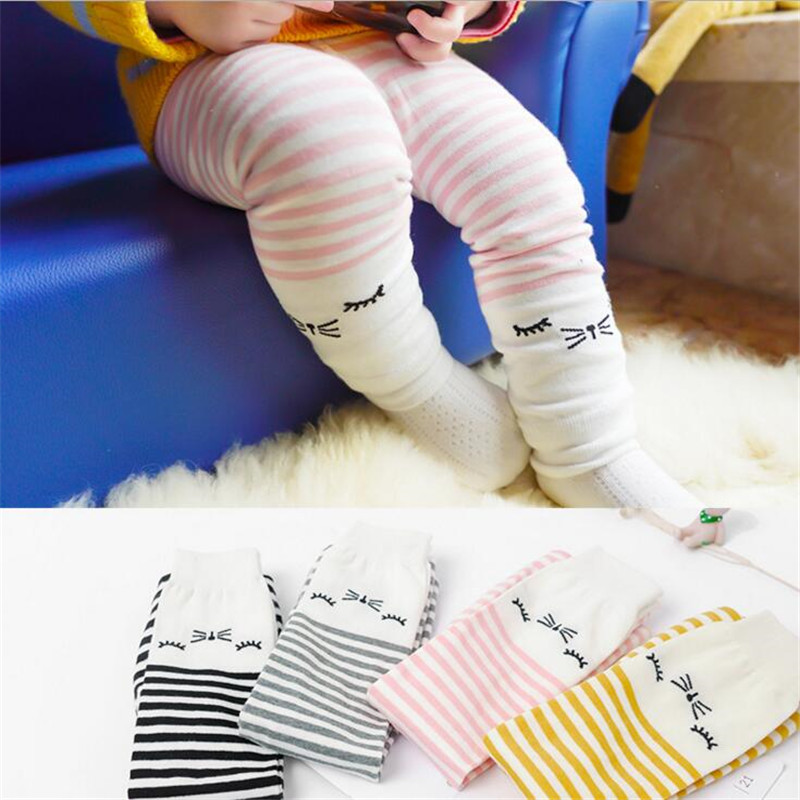 autumn baby girl sleep cat stripe Stitching fashion underwear pants PP Leggings 4colors 6month-3years D014 TZ05