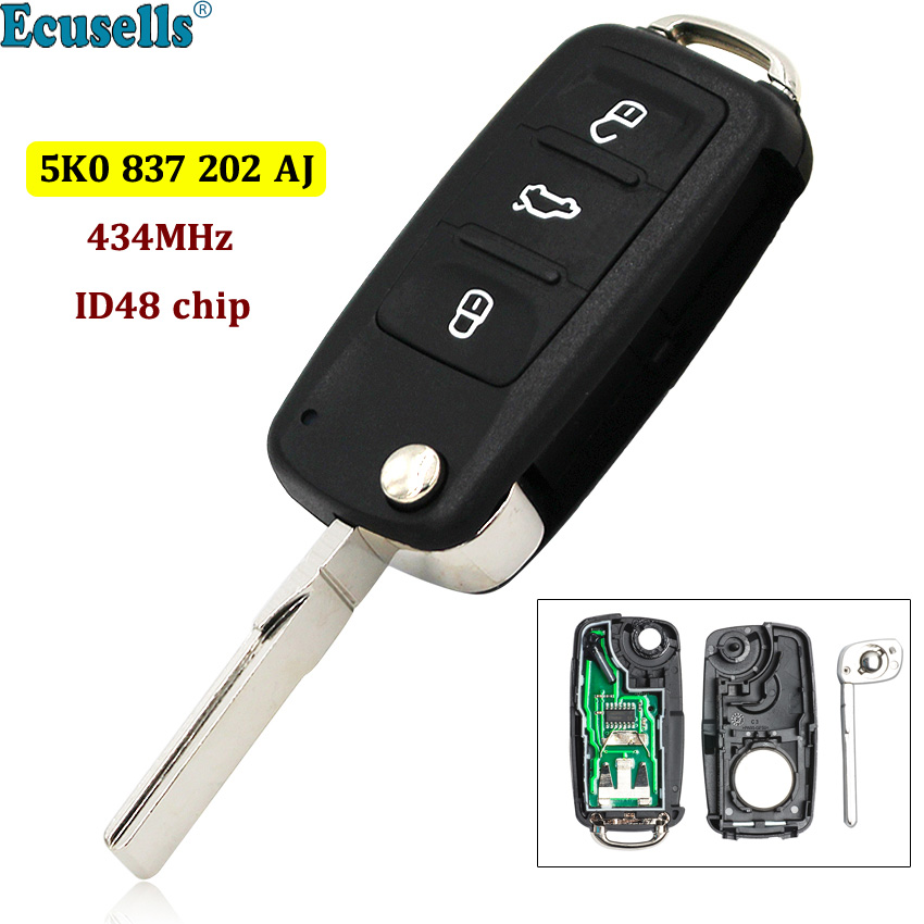 3 Button Flip Remote Key fob 434MHZ ID48 Chip 5K0837202AJ 5K0 837 202 AJ for VW Tiguan Sharan Golf 6 EOS Up Camper Scirocco