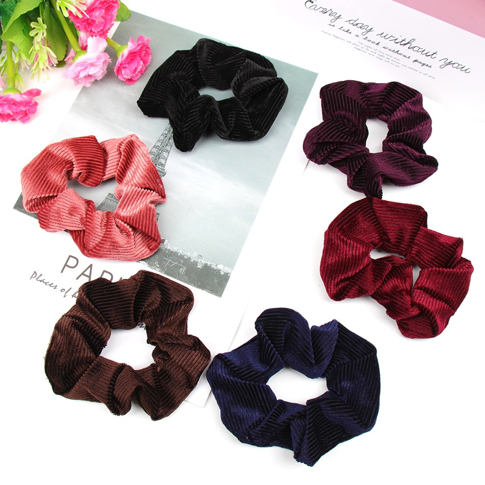 Hair Accessories Stripesd Velvet Scrunchie For Girls Ponytail Holder Rope Women Gum Rubber Band