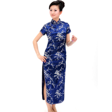 New Hot Traditional Chinese Dress Women's Satin Long Cheongsam Qipao Clothing Flower Printing Short Sleeve Silk Tang Clothes