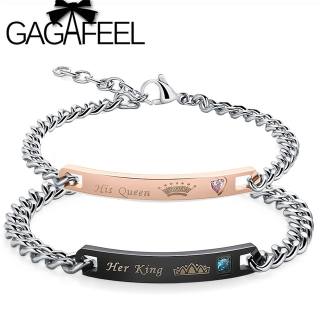 GAGAFEEL Nouveau Personnalisé Couple Bracelets Son Roi Sa Reine Personnalisé  Gravé Bracelet Bracelet Pour Hommes Femmes