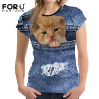FORUDESIGNS Cat Denim T Shirts Women Tops 3D Animal Dog Tee Shirt Femme Ladies Tshirt 2017