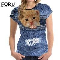 FORUDESIGNS Cat Denim T Shirts Women Tops 3D Animal Dog Tee Shirt Femme Ladies Tshirt 2017
