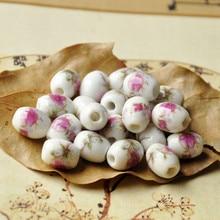 20pcs/lot 12*10MM Oval Shape Ceramic Beads Peony Flower,Sunflower,Wintersweet Hole for Diy/handmade Jewelry Making Finding