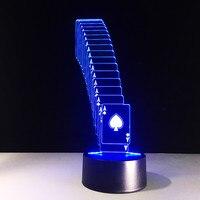 Creative 3D LED USB מנורת שולחן קישוט עלה פוקר קוסם קלף מנורה 7 צבעים משתנים שינה לילה אור חג המולד מתנות