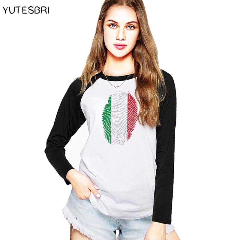 2018 women Italian italy flag T shirt high quality Cotton clothes Casual camiseta friki new years christmas Long Sleeve T-Shirt