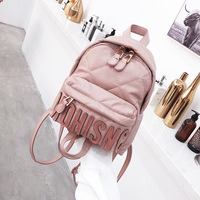 2018 Fashion Letter Embroidery Travel Leather Small Pink Backpack Cute For Girls Women Mochila Feminina School Bag Sack Rukzak