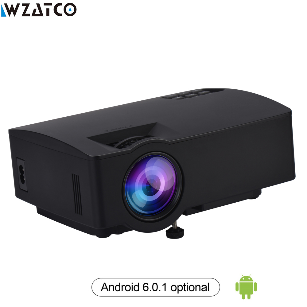WZATCO Z8 Mini LED Projector 1800Lumens For Home Theater HDMI Full HD 1080P Optional Android 6.0 Wifi Smart Beamer LED Proyector