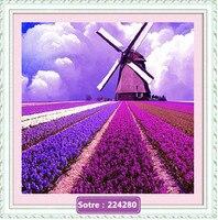 Needlework For Embroidery DIY DMC Purple Lavender Garden Windmill Cross Stitch Kits Art Pattern Counted Cross