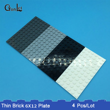 4Pcs/Lot MOC Brick Plate 6 x 12 Baseplates 3028 For Building Blocks Parts DIY LOGO Educational Bricks DIY Toys for Children gift diy 4 floors baseplates tower