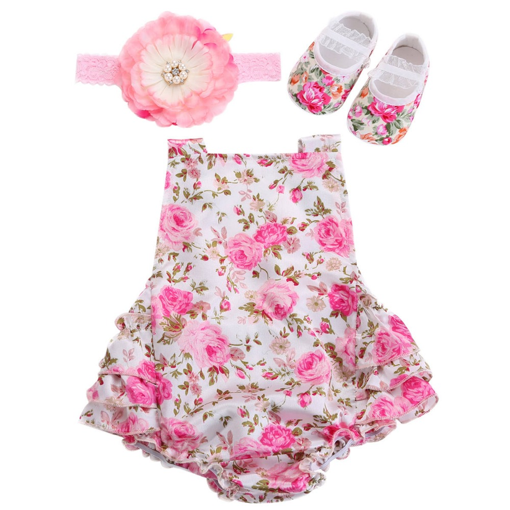 cab4192ad344f Floral Baby Girl Romper Newborn Baby Shoes Flower Headband 3pcs Set New  Born Baby Clothes Lace Romper Christmas Baby Costumes