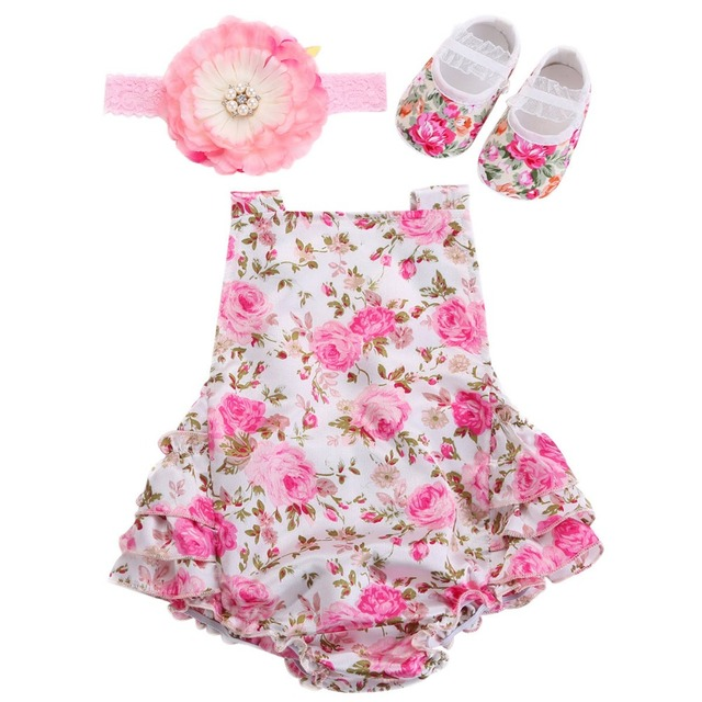 4a9724ec5 Floral Baby Girl Romper Newborn Baby Shoes Flower Headband 3pcs Set;New  Born Baby Clothes Lace Romper Christmas Baby Costumes