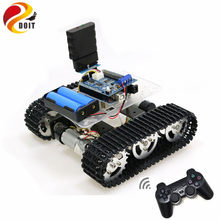 Mini T100 Handle/Bluetooth/WiFi RC Control Robot Tank Chassis Car Kit For Arduino With UNO R3, 4 Road Motor Driver Board, WiFi(China)
