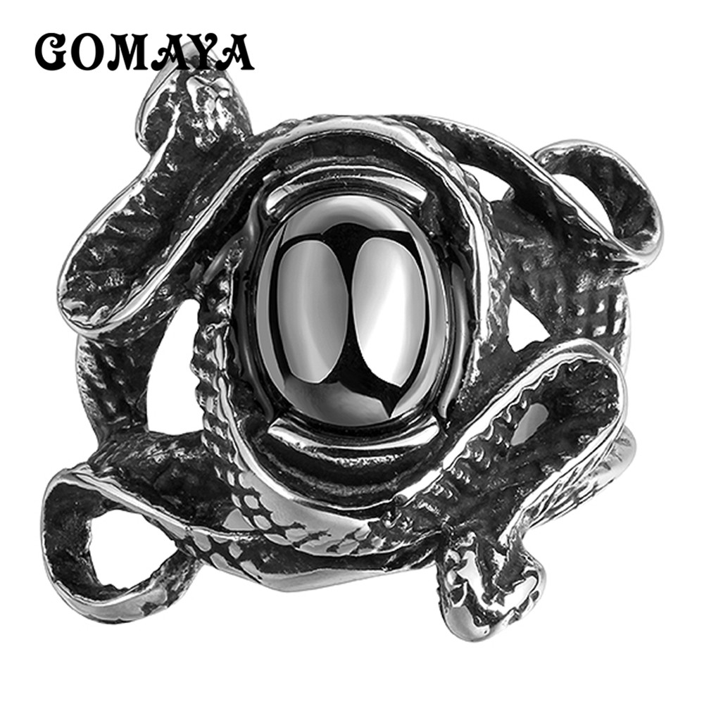 GOMAYA Mens Rings Stainless Steel Black Cubic Zirconia CZ Rings Double Snake Design Antique Jewelry Party Punk Hip hop