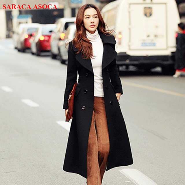 804458310c7e Office Lady Fashion Double Breasted Long Coat Autumn Winter All Match  Turn-Down Collar Overcoat For Girls