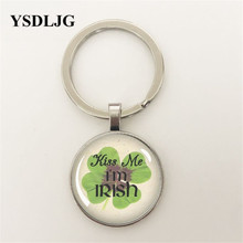Kiss Me Im Irish St Patricks Day Clover Glass Pendant or Key chain Necklace Wholesale