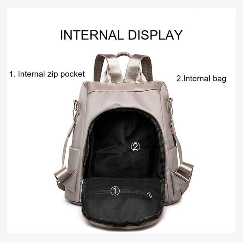 กระเป๋าเป้สะพายหลังสตรี Anti Theft หญิง Bagpack ขนาดใหญ่ความจุ Daypacks ผ้าสี