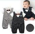 Детская одежда мода весна малыша детская одежда для официальных джентльмен полосатый с коротким рукавом детская одежда набор галстук хлопка костюм