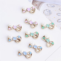 Wholesale 30PCs Big Round White Pearl Decorated Jelly Rhinestone Alloy Ribbon Bow Patch Sticker Craft Fit